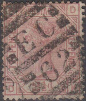 London EC62 on 2½d mauve pl 3 c1876