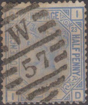 London W57 on 2½d blue pl 23 c1882