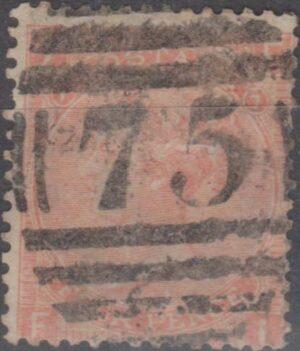 75 Birmingham lozenge on 4d dull red pl 7 c1865