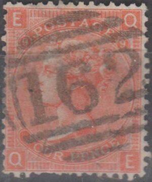162 Cardiff lozenge on 4d bright red pl 9 c1867
