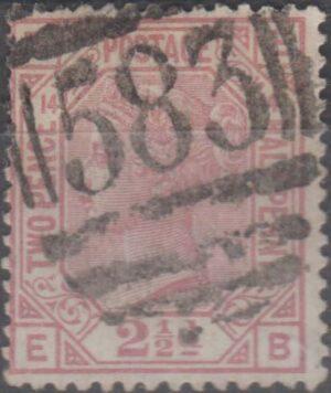 583 Nottingham lozenge on 2½d rosy mauve pl 14 c1879