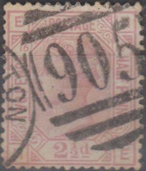 905 Wolverhampton lozenge on 2½d mauve pl 16 c1879