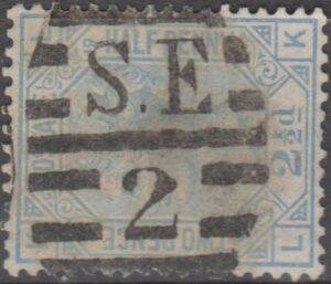 London SE2 on 2½d blue pl 19 c1880