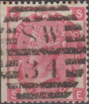 London SW34 on 3d pl 8 (wing margin trimnmed) c1872