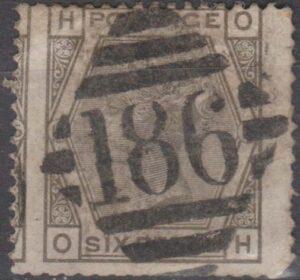 Ireland 186 Dublin on 6d pl 16 (mis-perfed) c1878