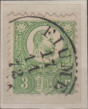 Hungary 3kr green on piece cancelled Fiume s/r cds 1872