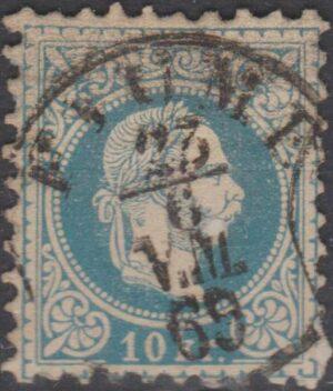 Austria/Hungary 10 kr blue cancelled Fiume s/r cds 1869