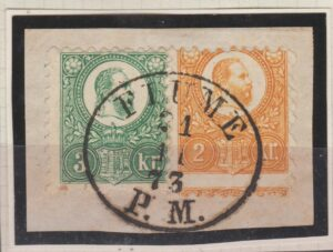 Hungary 2k & 3k on piece ccld VF oval Fiume PM 1873