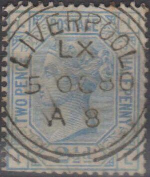 Liverpool Sq Circle on 2½d bue pl 19 1880