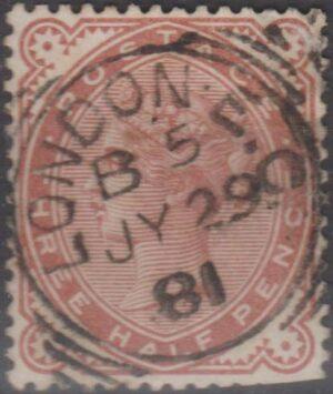 London EC on three half pence 1881
