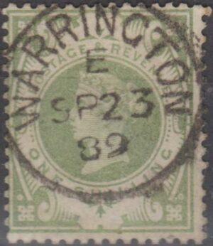 Warrington E cds on 1/- grey green 1889