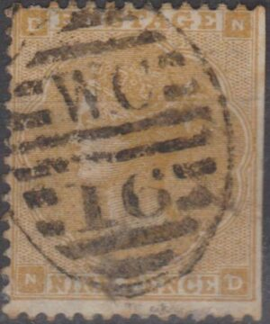 London WC 16 on 9d (trimmed perf) c1864