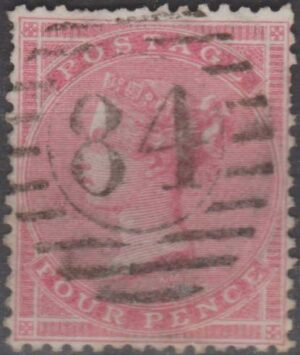 London 84 (Chingford) on 4d red c1858