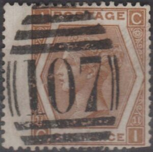 lozenge 107 (Bradford) on 6d pl 11 wing margin c1872