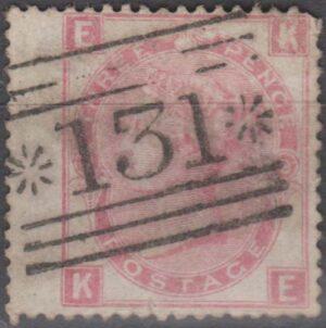 *131*  (Edinburgh) on 3d rose pl 9(?) wing margin c1872