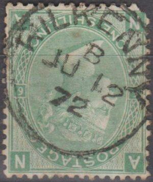 Kilkenny (Ireland) s/r cds on 1/- green pl 6 1872