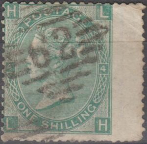 Irish lozenge 62 (Belfast) on 1/- green pl 4 wing margin