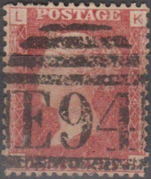 lozenge E94 (Gloucester Stn) on 1d perf pl 154(?) c1865